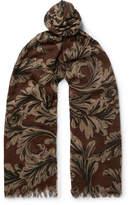 Dries Van Noten Fringed Printed Wool And Silk-Blend Scarf