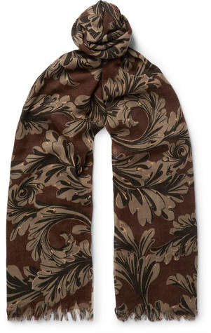 Dries Van Noten Fringed Printed Wool And Silk-Blend Scarf