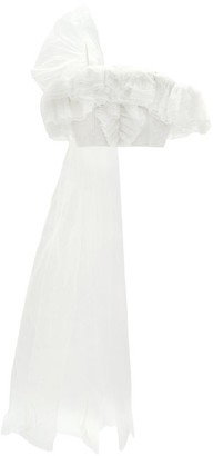 Rodarte Ruffle-trimmed Off-the-shoulder Cropped Top - Womens - White