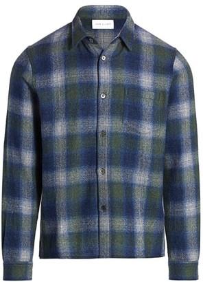 John Elliott Sly Plaid Straight-Hem Wool Shirt