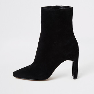 River Island Black suede wide fit heeled ankle boot
