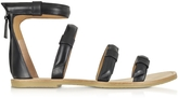 Marc by Marc Jacobs Seditionary Black Leather Flat Sandal