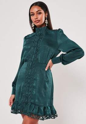 Missguided Satin Ladder Lace Insert Shirt Dress
