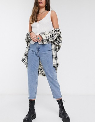Only high waist mom jean with volume leg in blue