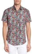 Stone Rose Men's Floral Print Sport Shirt