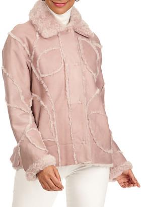 Christia Shearling Lamb Fur Intarsia Jacket