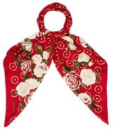 Chanel Camellia Print Scarf