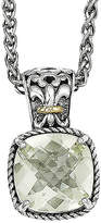 FINE JEWELRY Shey Couture Green Quartz Sterling Silver Antiqued Pendant Necklace
