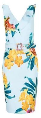 Dorothy Perkins Womens **Showcase Blue 'Blake' Tropical Printed Belted Dress, Blue