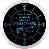 AdvPro Clock ncpf0011-b CHRISTOPHER'S Famous Guitar Lounge Beer Pub LED Neon Sign Wall Clock