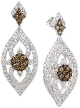 LeVian Le Vian Nude Diamond & Chocolate Diamond Marquise Drop Earrings (3-1/10 ct. t.w.) in 14k White & Rose Gold