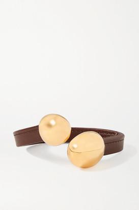 Bottega Veneta Leather And Gold-tone Cuff - Chocolate