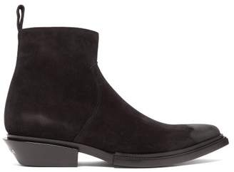 Balenciaga Santiag Point Toe Suede Boots - Mens - Black
