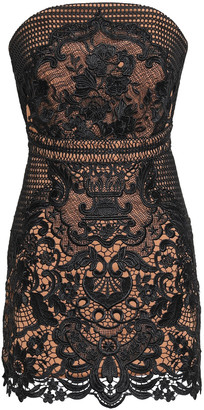 Self-Portrait Strapless Guipure Lace Mini Dress