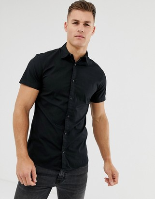 Jack and Jones stretch cotton short sleeve shirt in black