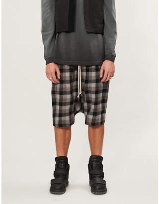 Rick Owens Rick's Pods plaid wool-blend shorts