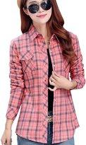 OCHENTA Women's Thicken Lining Classic Plaid Winter Warm Shirt Asian 2XL - US L