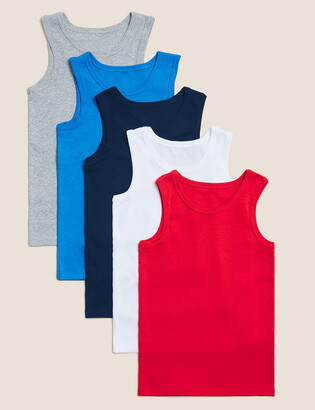Marks and Spencer 5 Pack Pure Cotton Vests (2-16 Yrs)