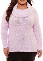 Liz Claiborne Textured Cowl Neck Tunic- Plus