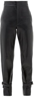 Bottega Veneta Tied-cuff Leather Wide-leg Trousers - Black