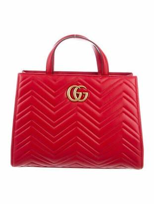 Gucci Matelasse Medium GG Marmont Top Handle Bag gold