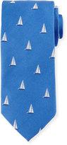 Peter Millar Sailboat-Print Silk Tie, Tarheel Blue