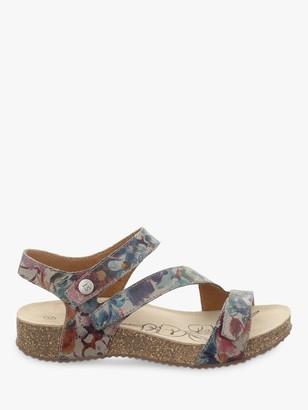 Josef Seibel Tonga 25 Triple Strap Floral Leather Sandals, Multi