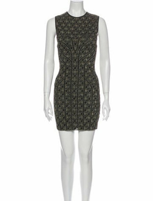 Alexander McQueen Printed Mini Dress Gold