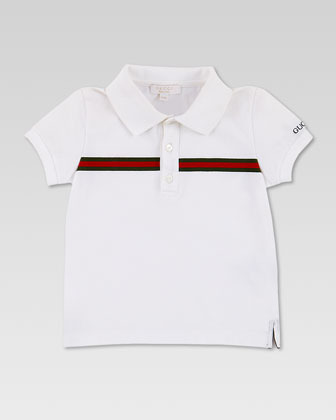 Gucci Short-Sleeve Web Jersey Polo, White