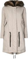 Moncler faux fur trimmed coat - women - Cotton/Polyamide/Polyester - 0