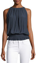 Ramy Brook Lauren Sleeveless Smocked-Waist Top, Black