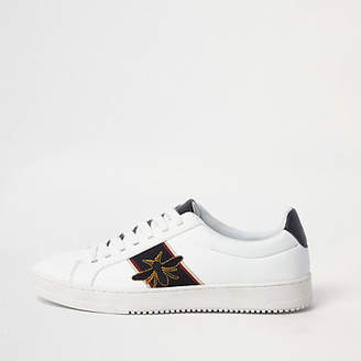 River Island White wasp embroidered trainers