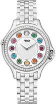 Fendi Crazy Carats Stainless Steel Topaz Watch with White Diamond Bezel, 2.07 TCW