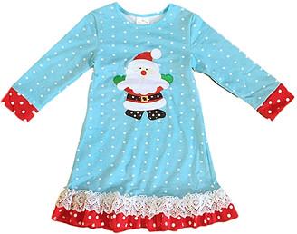 Royal Gem Girls' Casual Dresses Blue - Blue & Red Polka Dot Santa Ruffle Shift Dress - Toddler