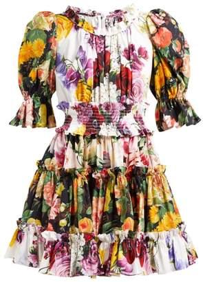 Dolce & Gabbana Floral Print Ruffled Cotton Dress - Womens - White Multi