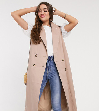Asos DESIGN Petite sleeveless trench coat in stone