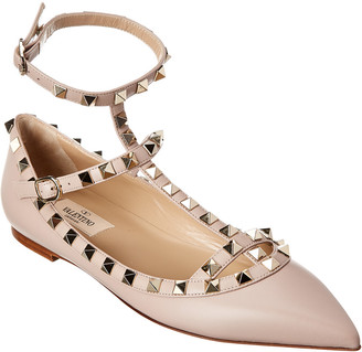 Valentino Rockstud Caged Leather Ballerina Flat