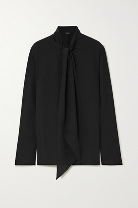 Joseph Branca Pussy-bow Silk Crepe De Chine Blouse - Black
