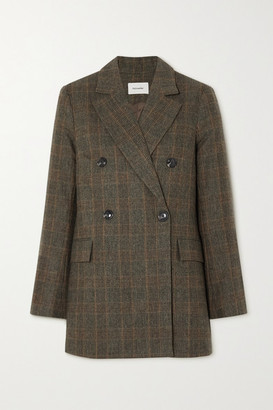 HOLZWEILER Stegastein Double-breasted Checked Woven Blazer - Brown