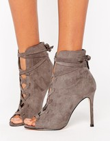 Lipsy Lace Up Peep Toe Boots