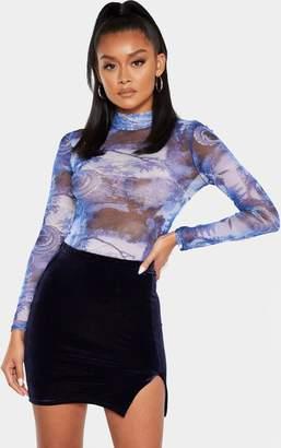 PrettyLittleThing Petrol Blue Velvet Slit Front Mini Skirt