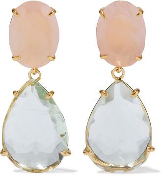 Bounkit Convertible 14-karat Gold-plated Green Amethyst And Rose Quartz Earrings