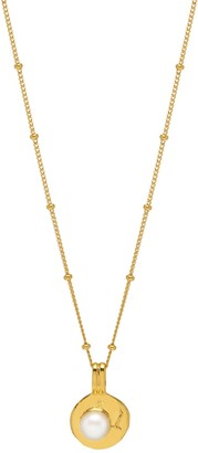 Northskull Pearl Medallion Beaded Necklace In Gold