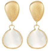 Rivka Friedman 18K Gold Clad Faceted White Cat's Eye Crystal Teardrop Satin Pebble Post Earrings