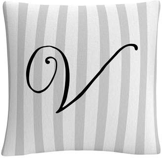 "Gray Striped Ornate Letter Script 16x16"" Decorative Throw Pillow by Abc"