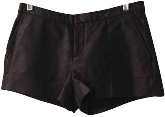 Theyskens' Theory Black Leather Shorts for Women