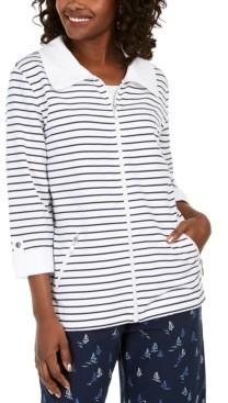 Karen Scott Petite Striped Jacket, Created for Macy's