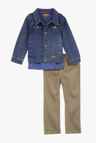 7 For All Mankind Boys Toddler 2t-4t Standard Twill Jeans In Khaki, Denim Jacket In Ultramarine, And Short-Sleeve T-Shirt In Dress Blues