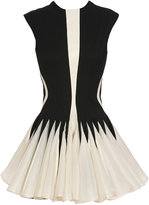 David Koma Wool, silk and leather dress with skater skirt