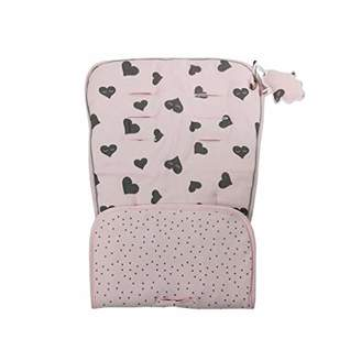 Minene Reversible Pushchair Liner, Pink with Grey Hearts/Grey Polka Dot